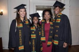Oprah wearing kente stole at Harvard graduation